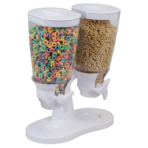 Double Cereal Dispenser, White