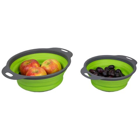 2 Piece Nesting Collapsible Silicone Colander, Green
