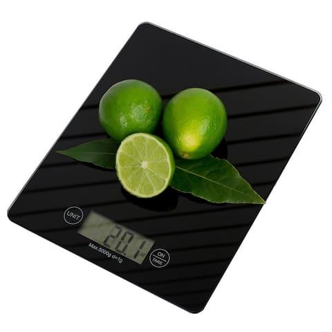 Multi-Functional Sleek Glass Digital Food Scale, Black