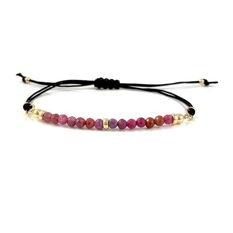Handmade Cancer Birthstone Ruby Gem Bar Adjustable Black Cord Bracelet 7.5 Rebecca Cherry