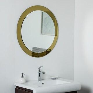 Golden Sol Round Frameless Mirror 30in Wall Mirror - Silver - 30x30x.5