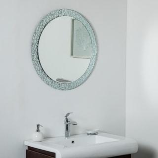 Jewel Round Frameless Mirror 27.5in Round Wall Mirror - Silver - 27.5 diax.5