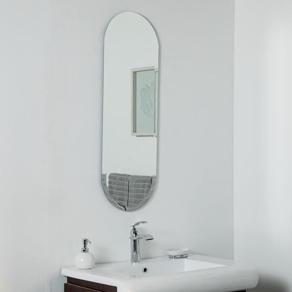 Addy Long Frameless Mirror 39.5 x 13.75in Wall Mirror - Silver - 39.5x13.75x.5
