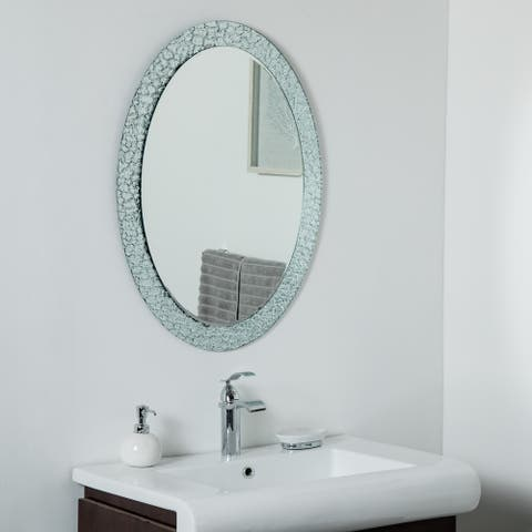 Jewel Oval Frameless Mirror 31.5 x 23.6in Oval Wall Mirror - Silver - 31.5x23.6x.5