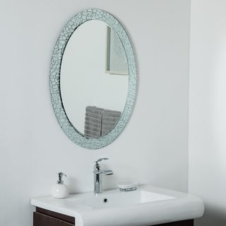 Jewel Oval Frameless Mirror  31.5 x 23.6in Oval Wall Mirror - Silver - 31.5x23.6x.5
