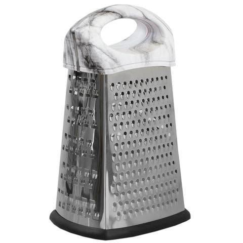 4 Sided Stainless Steel Cheese Grater with Faux Marble Handle
