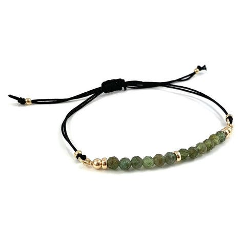 "Handmade Taurus Birthstone Green Apatite Gem Bar Adjustable Black Cord Bracelet 7.5"" Rebecca Cherry"