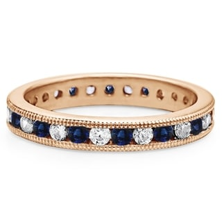 Sapphire And Diamond 1 9mm Wide Channel Set Milgrain Eternity Ring In 10K Gold With 1 CT TWT
