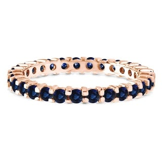 Sapphire Stackable 1 9mm Double Shared Prong Eternity Ring In 10K Gold In 3 4 CT TWT