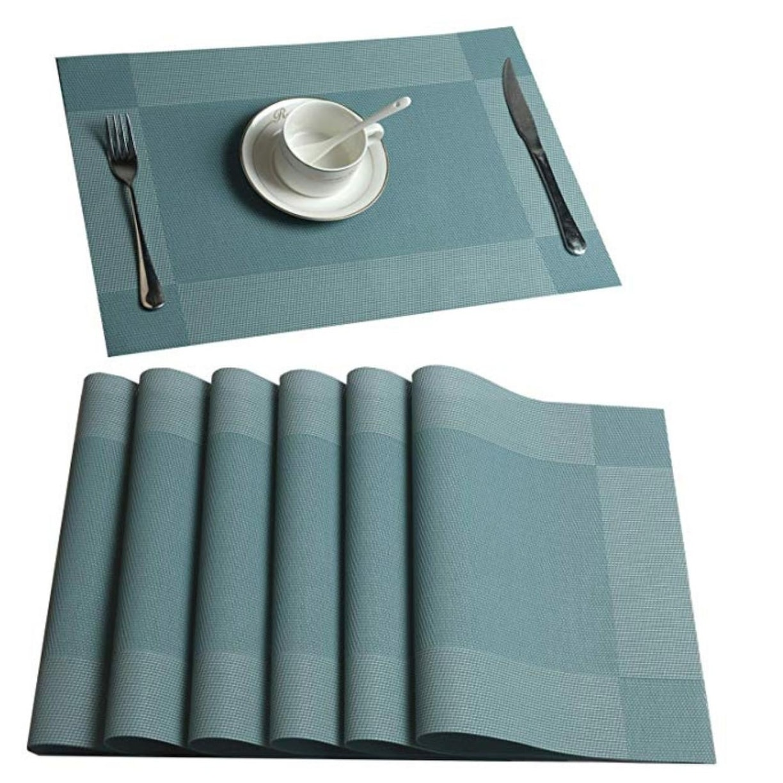 Woven Vinyl Insulation Placemat Table Mats Set of 6 Blue 18 x 12