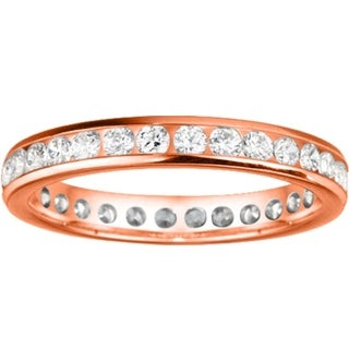 1 9mm Wide Channel Set Moissanite Eternity Ring In 10K Gold With 1 CT TWT