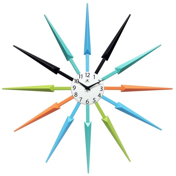 Celeste Starburst Mid-Century Modern Unique Large Wall Clock 24 inch by Infinity Instruments. Opens flyout.
