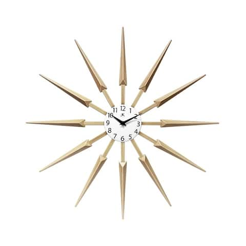 Celeste Starburst Mid-Century Modern Unique Large Wall Clock 24 inch by Infinity Instruments