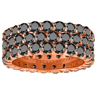 Black Diamond 5mm Wide Shared Prong Three Row Eternity Band In 14K Gold In 1 1 2 CT TWT