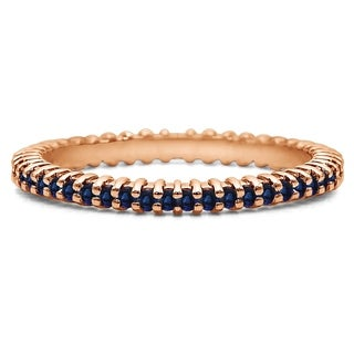 Sapphire Stackable 1 6mm Double Shared Prong Eternity Ring In 14K Gold In 1 2 CT TWT