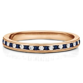 Sapphire And Diamond 1 6mm Wide Channel Set Eternity Ring In 14K Gold In 1 2 CT TWT