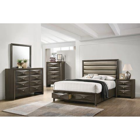 Porch & Den Dauer Grey Wood and Bronze Leatherette 2-drawer Storage Platform Bed