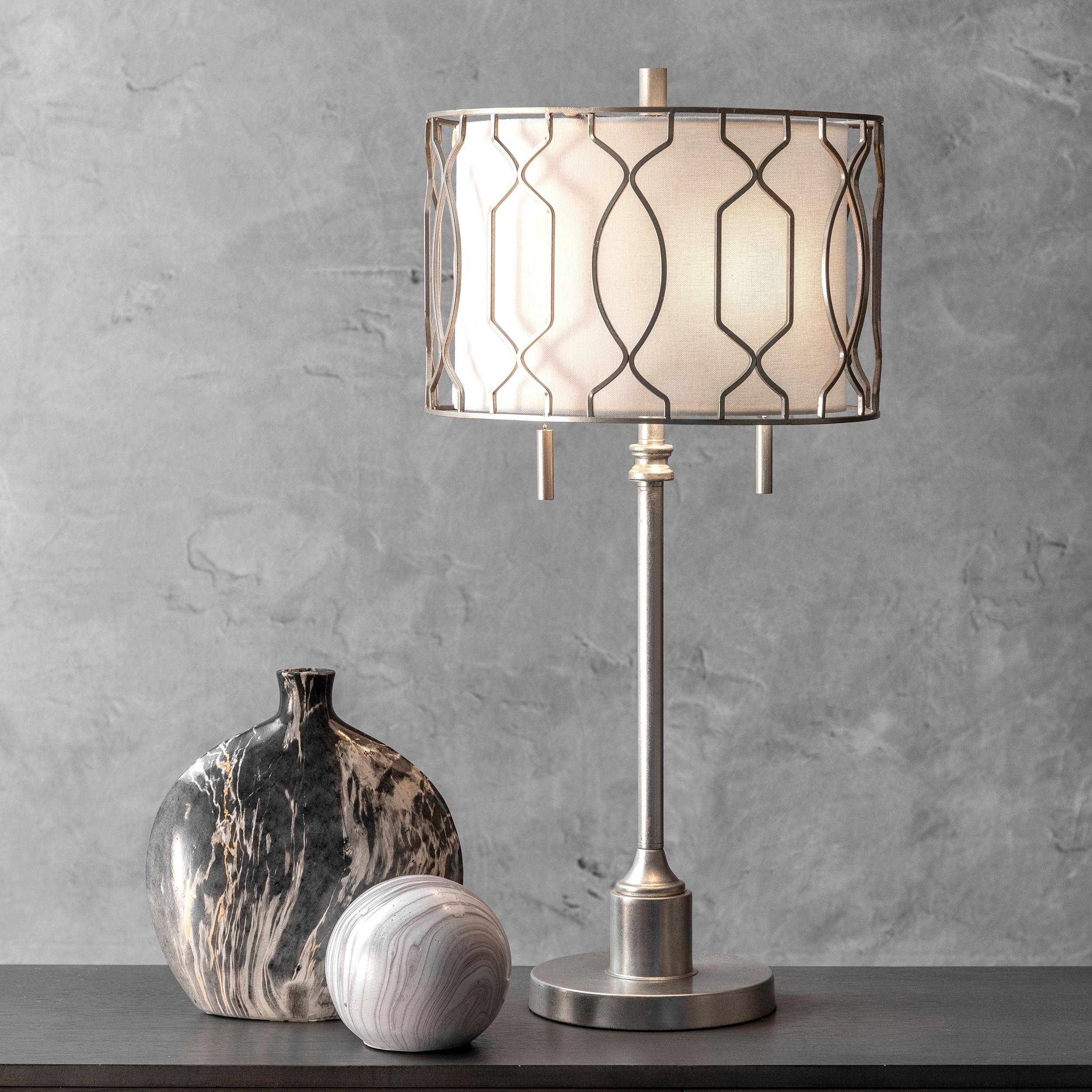 Watch Hill 27 Metal Trellis Framed Linen Shade Table Lamp
