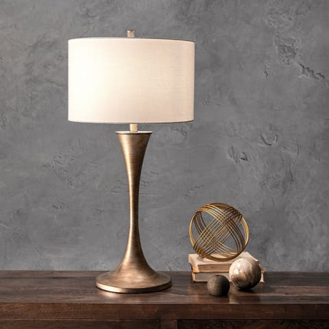 "Watch Hill 33"" Metal Funnel Vase Linen Shade Table Lamp"