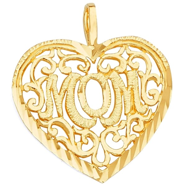 14k Yellow Gold Yellow Gold I Heart Mommy Pendant