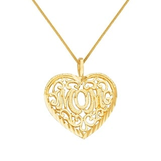 14k Yellow Gold Mother S Day Filigree Heart Mom Pendant With Square Wheat Chain