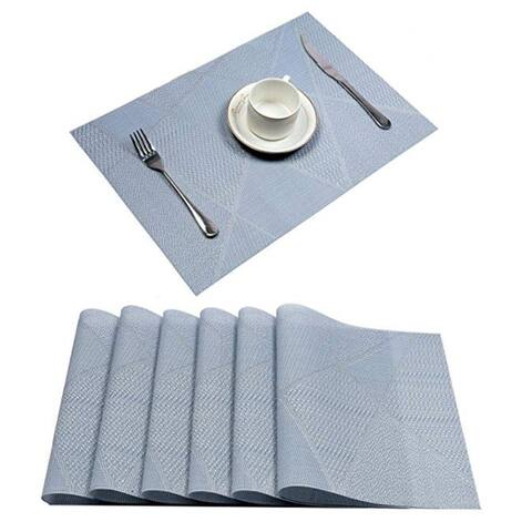 "Woven Vinyl Insulation Placemat Table Mats Set of 6 Light Blue 18"" x 12"""