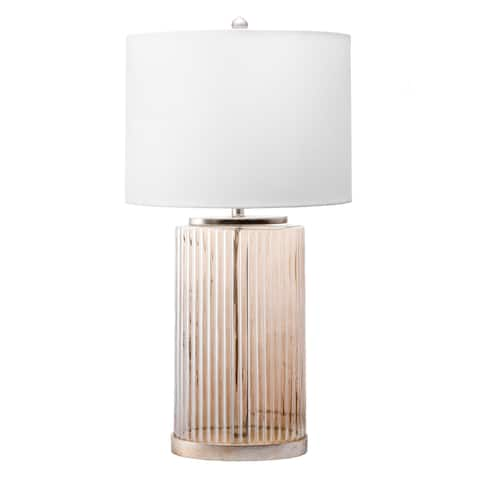 "Watch Hill 33"" Spined Glass Vase Linen Shade Table Lamp"