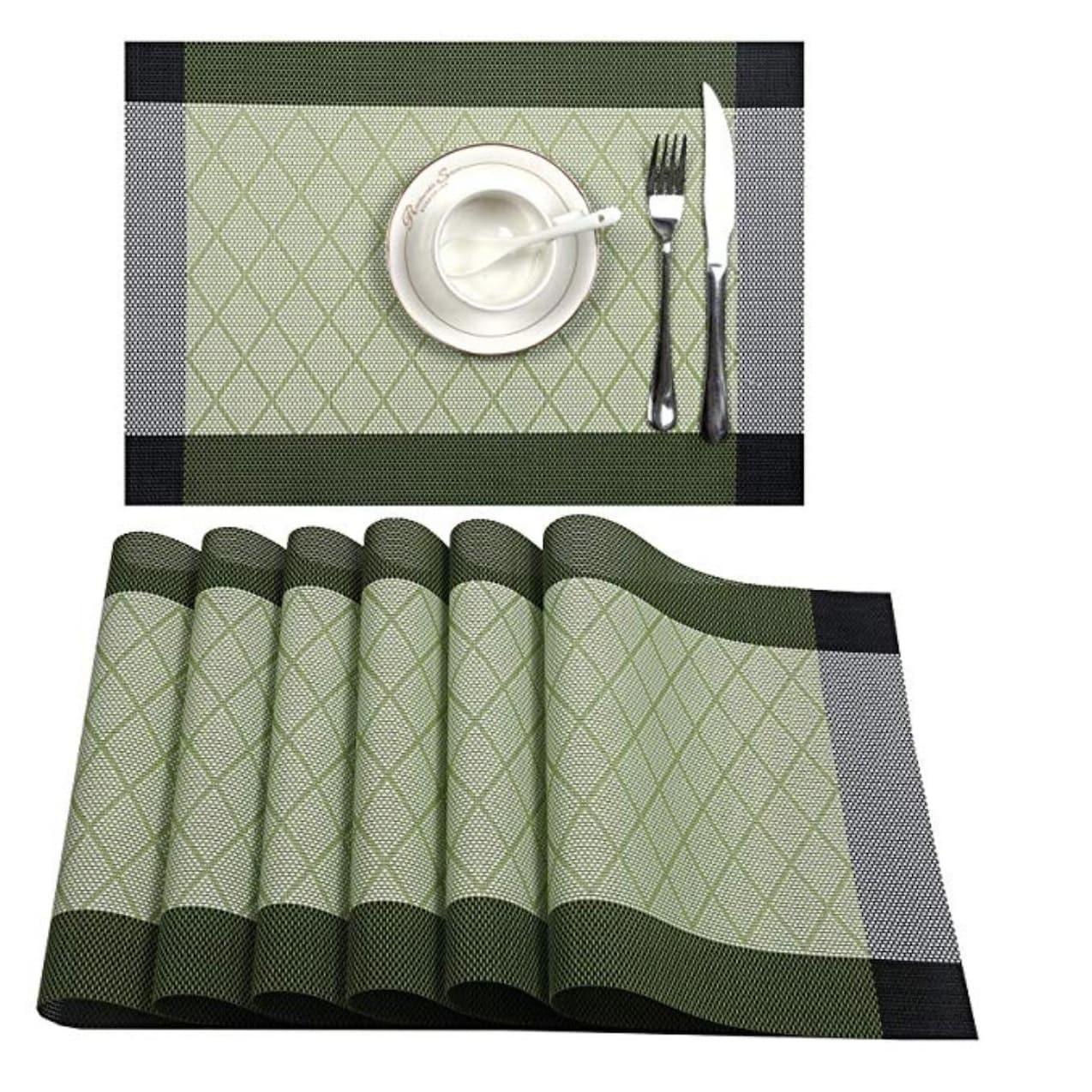 Woven Vinyl Insulation Placemat Table Mats Set of 6 Light Green 18 x 12