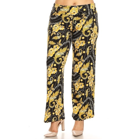 White Mark Women's Printed Plus Size Palazzo Pants