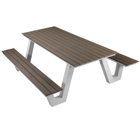 Pangea Home Lukas Aluminum Modern Picnic Table