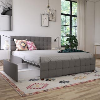 CosmoLiving by Cosmopolitan Elizabeth Upholstered Bed with Storage- Full
