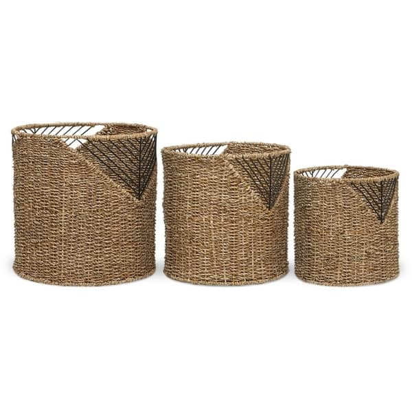 The Curated Nomad Lucky 3 Piece Natural Woven Basket Set Overstock 28119832
