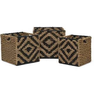 Finch Botswana Two Tone Woven Basket, Set of 3, Natural
