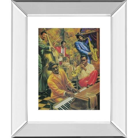 "22 in. x 26 in. ""Jazz Music"" Mirror Framed Print Wall Art"