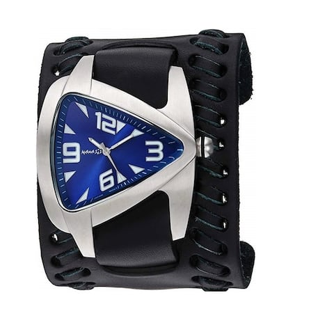 Nemesis 'Oversized' Teardrop Watch with Black Wide Weaved Vintage Style Leather Cuff Band DT011DL