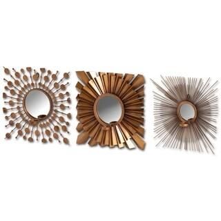 Mercana 3-piece Ambergis Brass Finish Wall Mirror Set