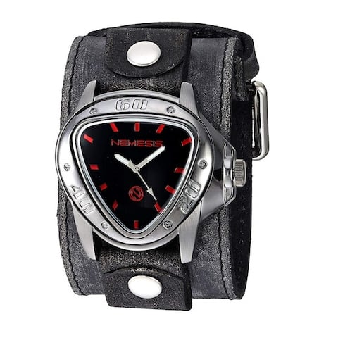 Nemesis 'Echo' Gunmetal Watch with Faded Black Wide Detail Leather Cuff Band FLBB528R
