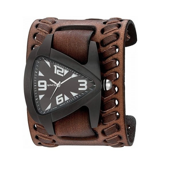 8cdf97e6a Shop Nemesis 'IP Oversize Teardrop' Ion-Plated Men's Watch with Black  Vintage Wide Leather Weaved Cuff Band VBDK061K - Free Shipping Today -  Overstock - ...