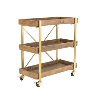 Carbon Loft Weldon Goldtone Metal and Wood Bar Cart