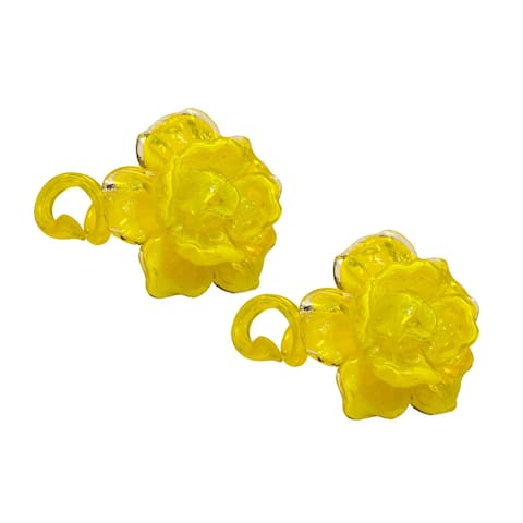 "Springdale 4.5""H 2-Piece Yellow Rose Art Glass Set"