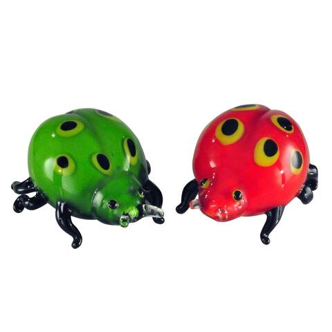 "Springdale 3.75""H 2-Piece Lady Bug Art Glass Sculptures"