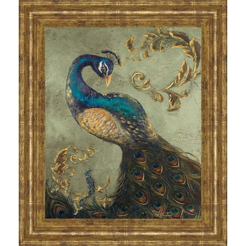 """22 in. x 26 in. """"Peacock On Sage Il"""" By Tiffany Hakimipour Framed Print Wall Art"""
