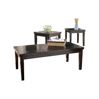 Wooden Table Set with Tempered Glass Inserted Top, Set of Three, Brown