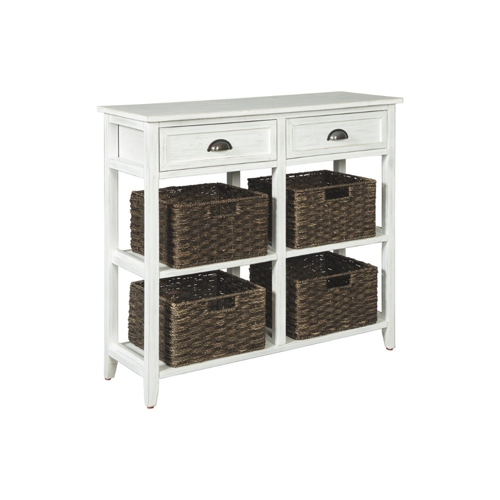Wooden Console Sofa Table With Four Woven Storage Baskets White And Brown