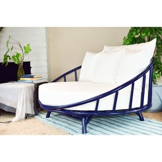 Bamboo Large Round Sofa Daybed and All White Covers