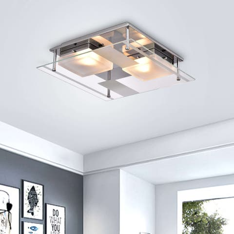 Lucia Chrome 2-light Square Frosted Glass Flush Mount Ceiling Light