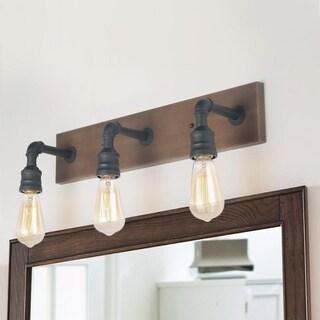 "Farmhouse 3-Lights Black and Faux Wood Bathroom Vanity Wall Lighting Sconce - W22.2""x H6.7""x E6.3"""