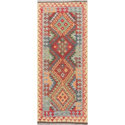 """Southwestern Tribal Flat-weave Turkish Hand Woven Kilim Runner Rug - 6'4"""" x 2'7"""" Runner"""