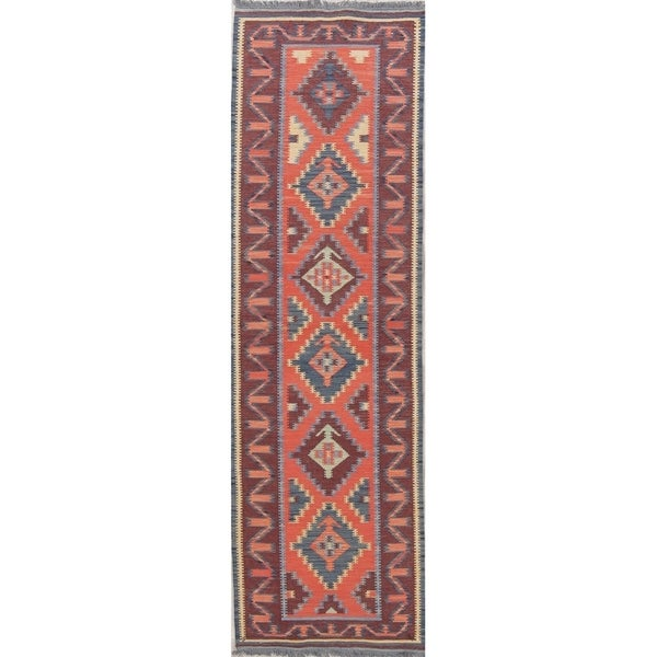 "One-Of-A-Kind Flatweave Kilim Hand-Woven Turkish Runner Rug Wool - 9'3"" x 2'8"" Runner"