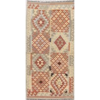 """Modern Flatweave Turkish Kilim Hand-Woven Tribal Runner Rug - 6'9"""" x 3'2"""" Runner"""